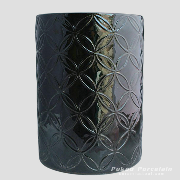Black carved Ceramic Chinese Stool