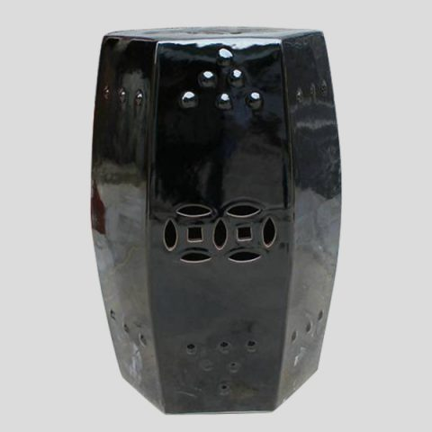 RYNQ74_Black out door patios 6 sided Ceramic Stool