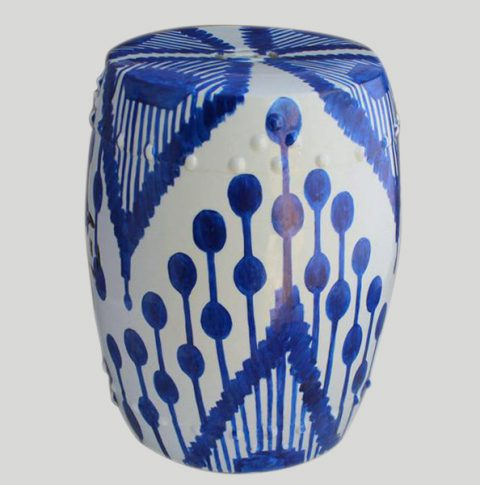 RYNQ76_Garden furniture online Blue Ceramic Hand Painted Stool