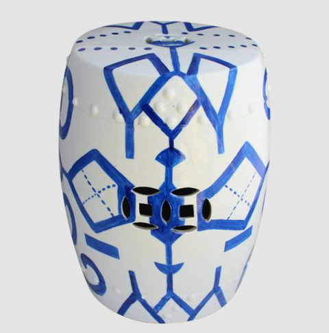 RYNQ84_Geometric blue line pattern cermaic living room furniture stool