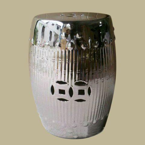RYNQ89_Silver Bamboo design Ceramic Stools