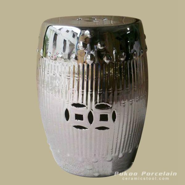 Silver Bamboo design Ceramic Stools