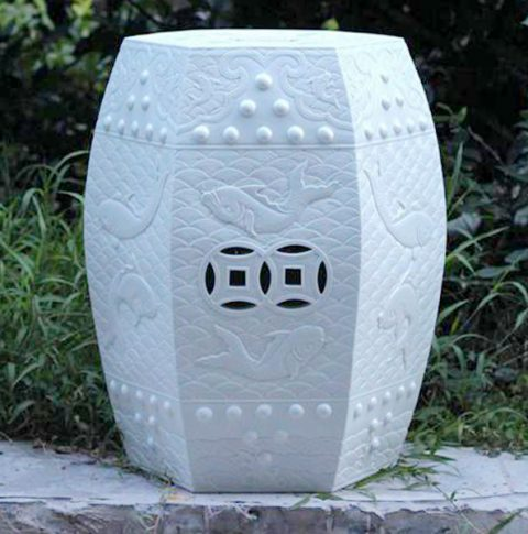 RYOM02-NEW_White garden furniture high quality hand carved floral fish porcelain Stool