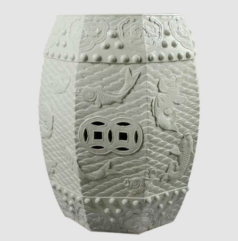RYOM02_Carved carp pattern chinaware stool