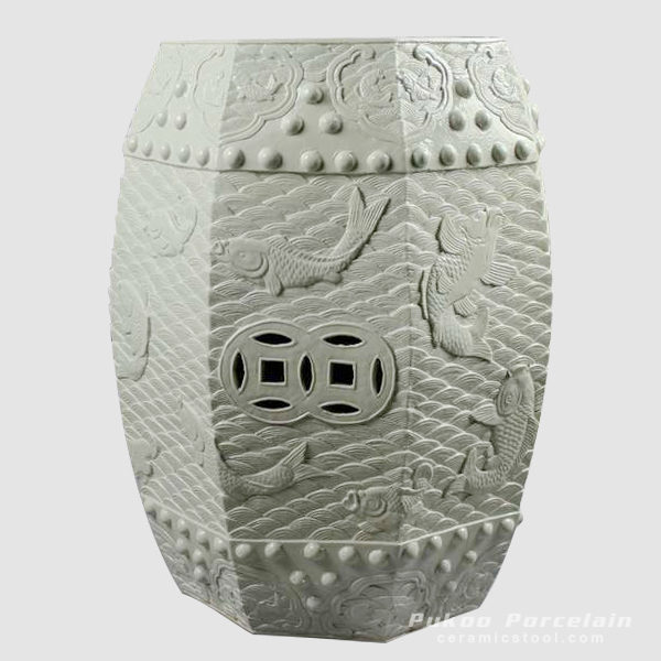 Carved carp pattern chinaware stool