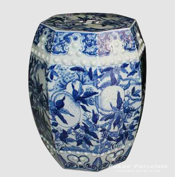 Longlife peach pattern blue white ceramic stool