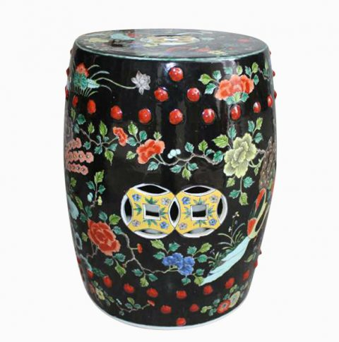 RYQQ49_Hand painted black floral bird outdoor coffee table stool