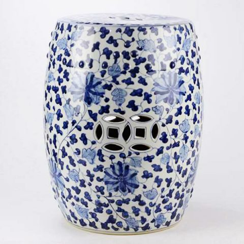 RYRJ10_Under glaze blue hundred hand paint flower pattern ceramic drum stool