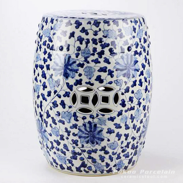 Under glaze blue hundred hand paint flower pattern ceramic drum stool  sc 1 st  Ceramic stool : ceramic barrel stool - islam-shia.org
