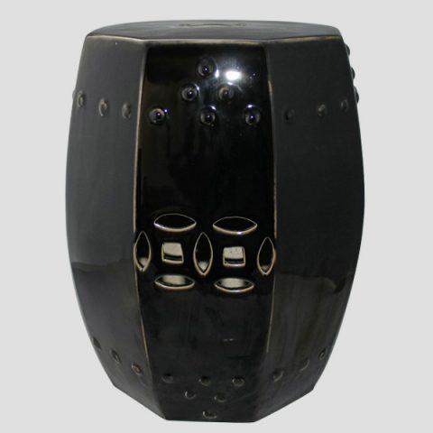 RYRJ11_Black hexagon ceramic outdoor barstools