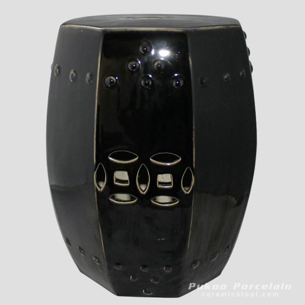 Black hexagon ceramic outdoor barstools