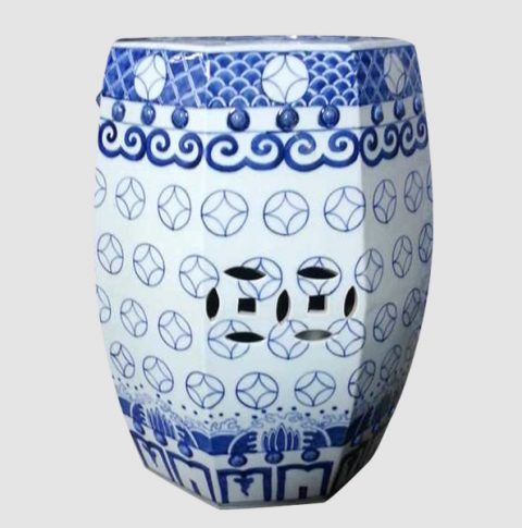 RYSI11_Blue White Porcelain Outdoor Stool, hand painted, high temperature fired , 8 sided