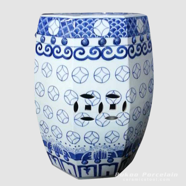 Blue White Porcelain Outdoor Stool, hand painted, high temperature fired , 8 sided