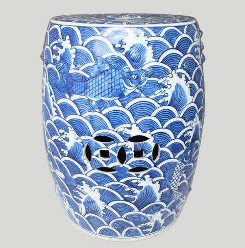 RYSI12_Chinese hand painted Blue and White Sea and Fish Garden Stool