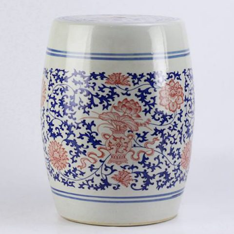 RYSP06-A_Red lotus mark blue and white ceramic barrel stool