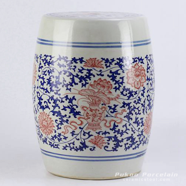 Red lotus mark blue and white ceramic barrel stool