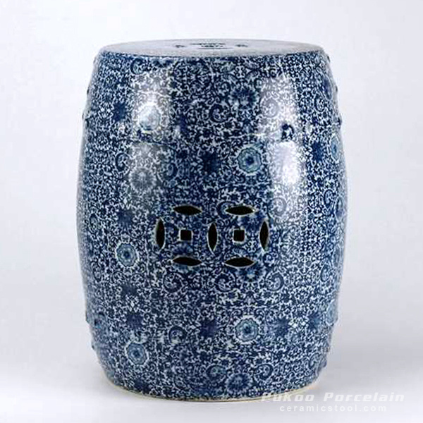 Blue white ceramic stool
