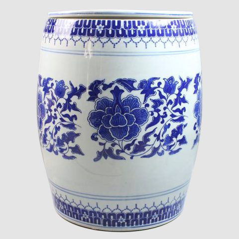 RYTX03_Blue and white floral pottery stool