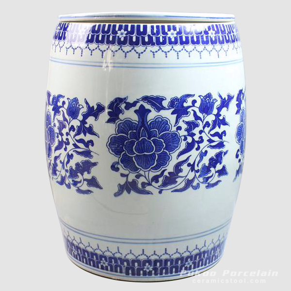Blue and white floral pottery stool