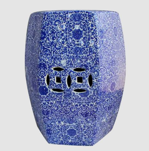 RYTX05_Blue hundred of flowers pattern ceramic six sides stool