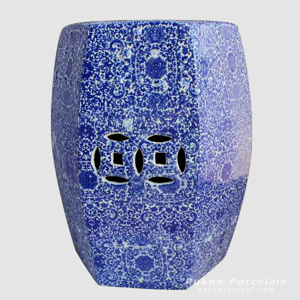 Blue hundred of flowers pattern ceramic six sides stool