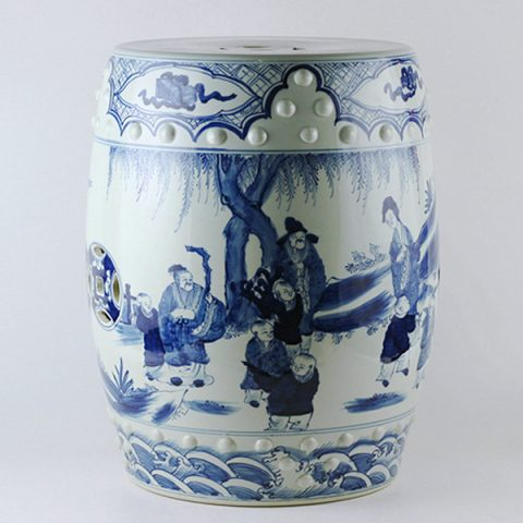 RYUC03_Hand paint ancient Chinese figurine pattern blue white ceramic stool