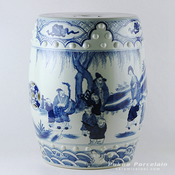 Hand paint ancient Chinese figurine pattern blue white ceramic stool