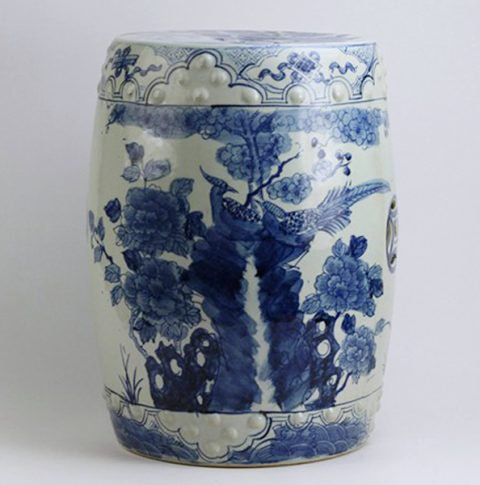 RYUV17_Flower bird Blue and white garden stool