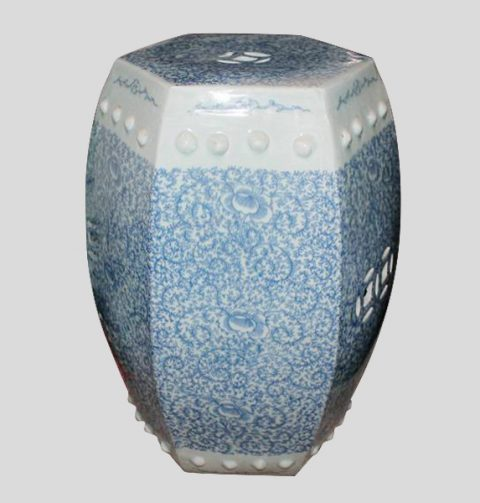 RYVM21_Blue and White Floral patio furniture sale Ceramic Stool 6 side