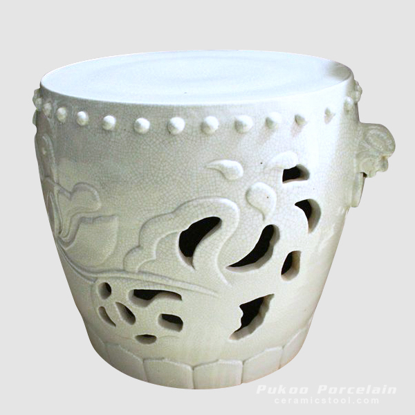 Hand Carved Crackle Ceramic furniture Asian Stool