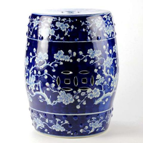 RYWG04_Blue and white high quality hand paint winter sweet pattern ceramic Chinese barrel stool