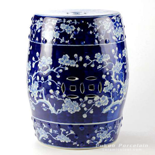 Blue and white high quality hand paint winter sweet pattern ceramic Chinese barrel stool