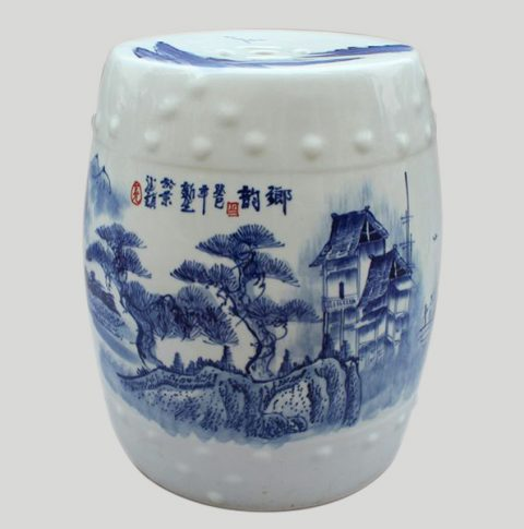 RYWX01_Chinese Blue and White landscape Ceramic Garden Stool