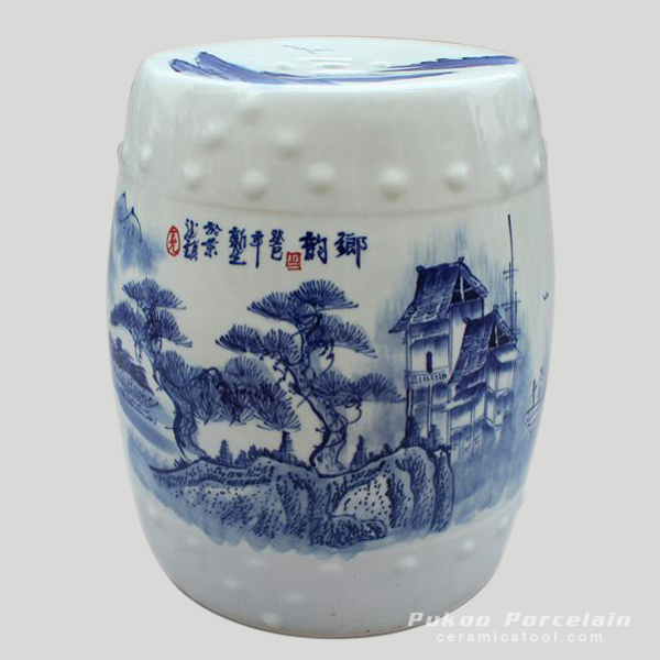 Chinese Blue and White landscape Ceramic Garden Stool
