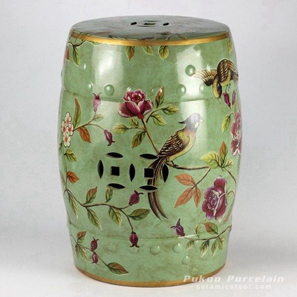 Enameled green background bird flower mark ceramic leisure seat