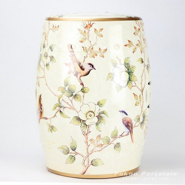Almond bird branch mark ceramic patio stool