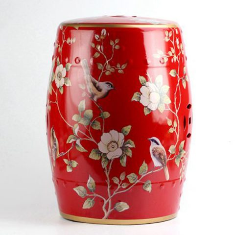 RYYL04_China red bird floral pattern golden line gilded enamel beside table seat