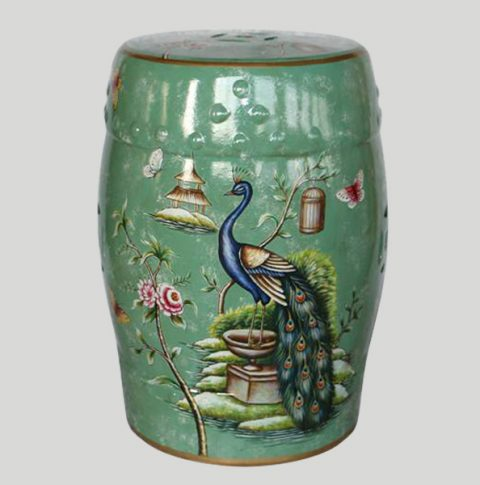 RYYL05_Green floral peacock china furniture Ceramic Stool