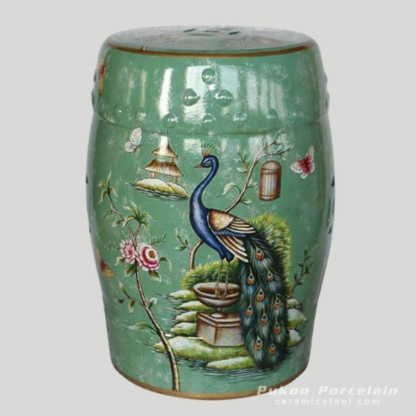 Green floral peacock china furniture Ceramic Stool
