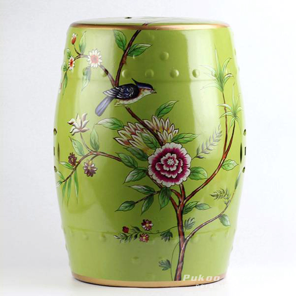 Bird floral pattern new arrival ceramic patio stool