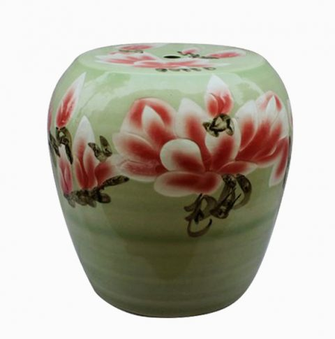 RYYT04_Green floral Ceramic outdoor living Stool