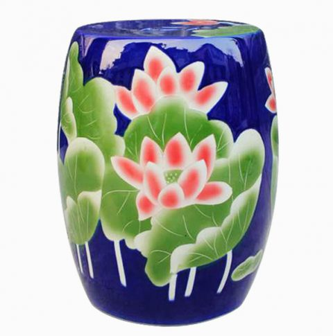 RYYU01_Blue garden patio furniture Ceramic Stool , floral
