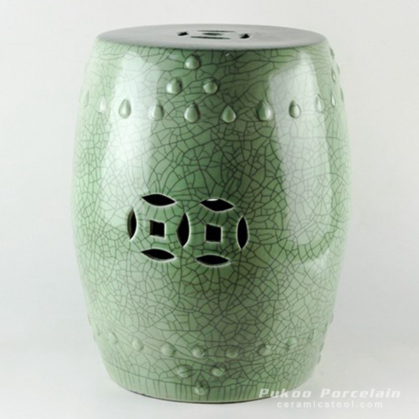 Crackle green ceramic stool