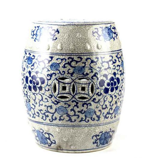 RYYV04_Crackle glaze blue and white hand paint floral pattern antiquity ceramic bathroom stool