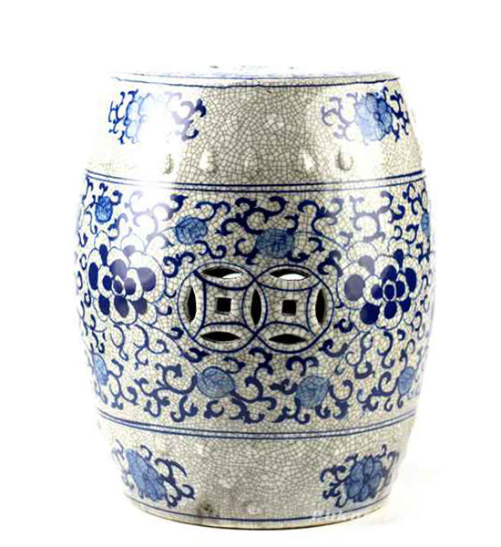 Crackle glaze blue and white hand paint floral pattern antiquity ceramic bathroom stool