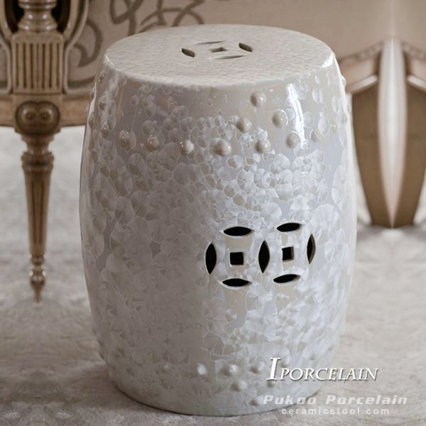 Garden and Outdoor Ceramic Stool, Crystalline glaze stool