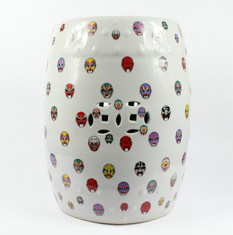 RYYY01_Outdoor garden Ceramic Stool Beijing Opera mask