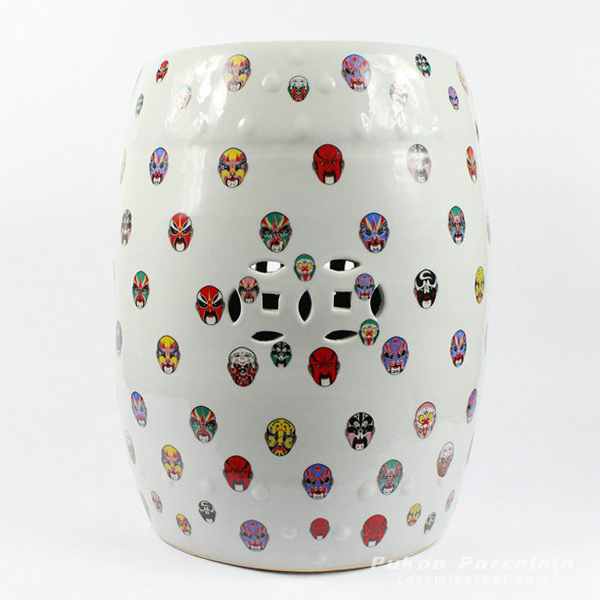 Outdoor garden Ceramic Stool Beijing Opera mask