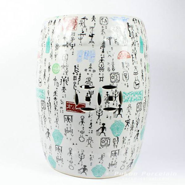 Porcelain Chinese garden stools Character design