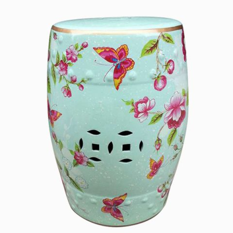 RYZS02_Outdoor cushions Ceramic floral butterfly Stool